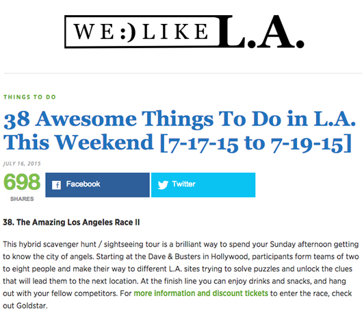 Fantastic Race scavenger hunt / sightseeing tour featured in We Like L.A.